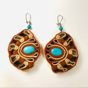 VINTAGE Leather and Turquoise Statement Earrings